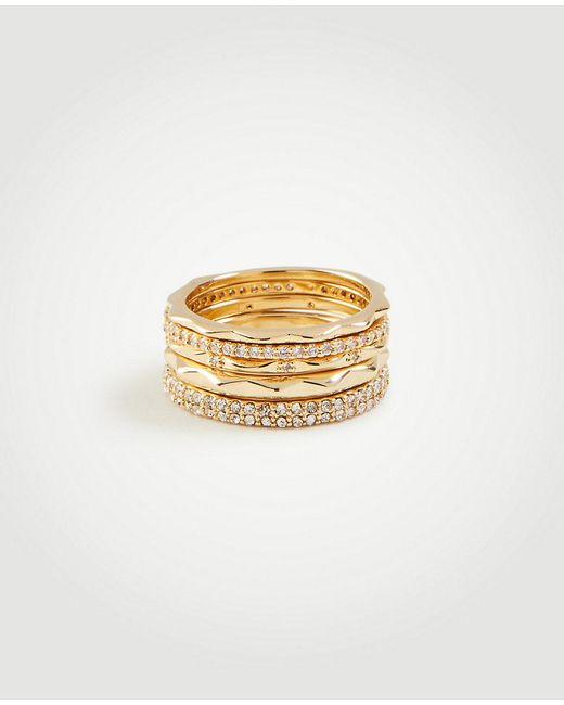 Ann Taylor - Metallic Crystal Stacked Ring Set - Lyst