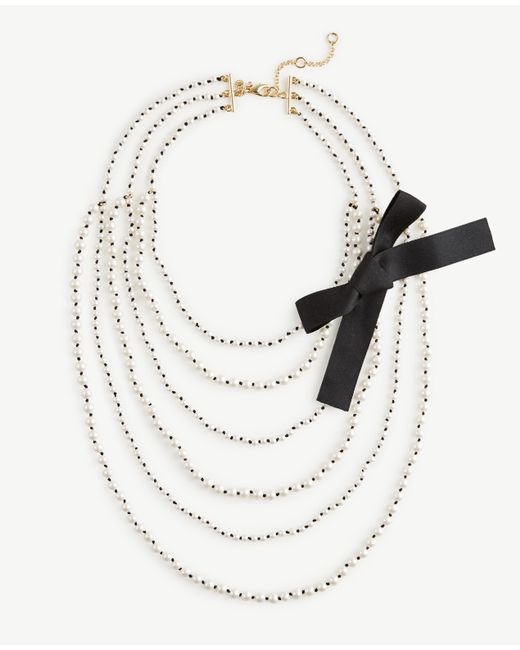Ann Taylor | White Knotted Pearlized Tier Necklace | Lyst