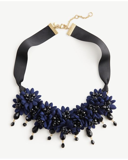 Ann Taylor | Blue Floral Fabric Statement Necklace | Lyst