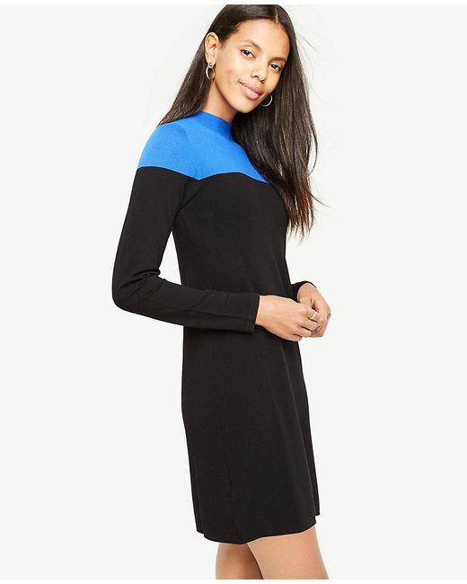 Ann Taylor | Black Petite Colorblock Mock Neck Sweater Dress | Lyst