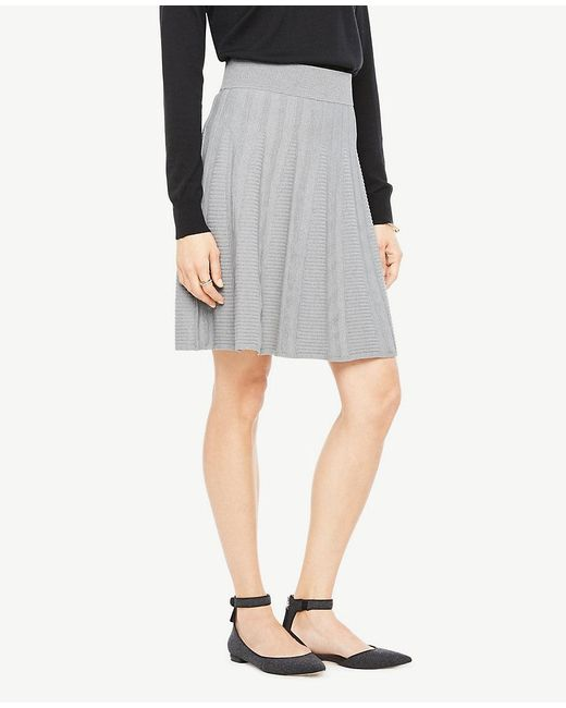 Ann Taylor - Gray Petite Stitched Flare Sweater Skirt - Lyst