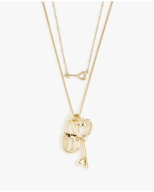Ann Taylor | Metallic Lock And Key Pendant Layering Necklace | Lyst
