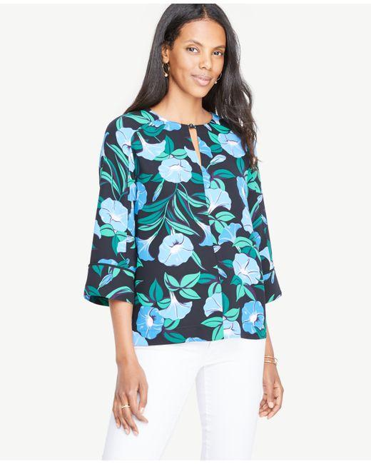 Ann Taylor | Blue Garden Split Neck 3/4 Sleeve Top | Lyst