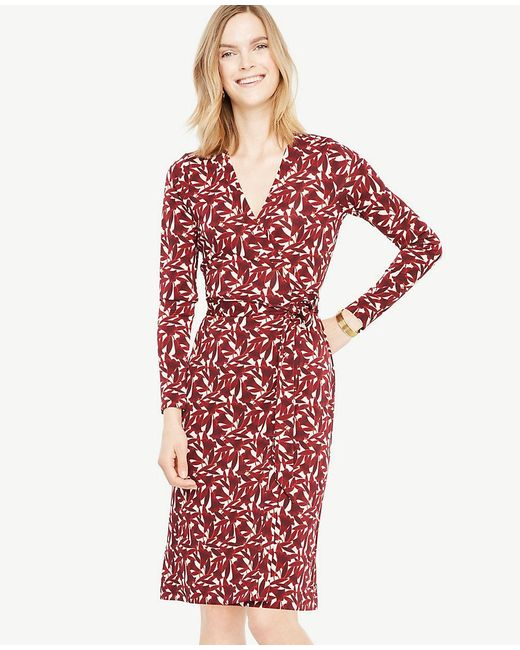 Ann Taylor - Red Floral Wrap Dress - Lyst