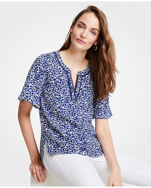 Ann Taylor - Blue Floral Tipped Split Neck Tee - Lyst