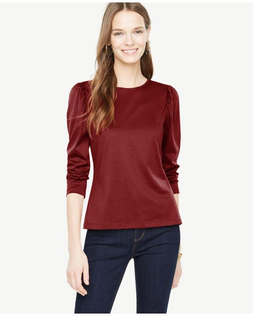 Ann Taylor | Red Puff Sleeve Top | Lyst