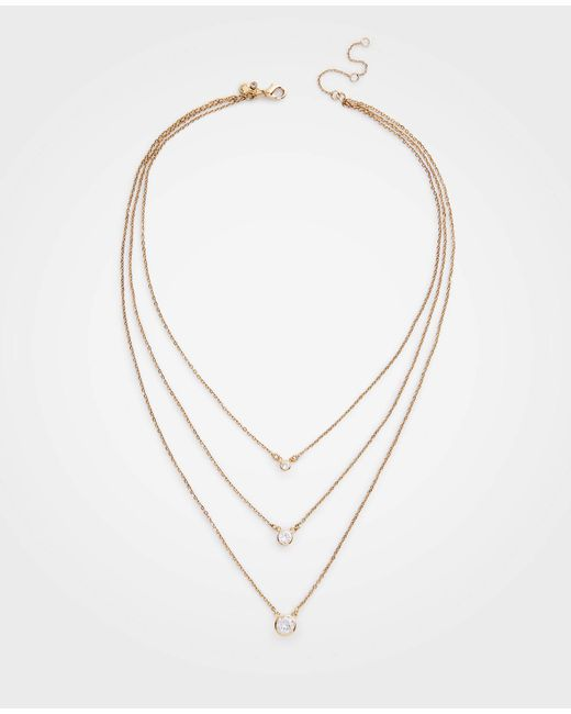 Ann Taylor - Metallic Crystal Triple Layer Necklace - Lyst