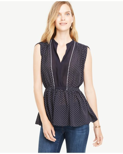 Ann Taylor   Blue Shirred Waist Dotted Top   Lyst