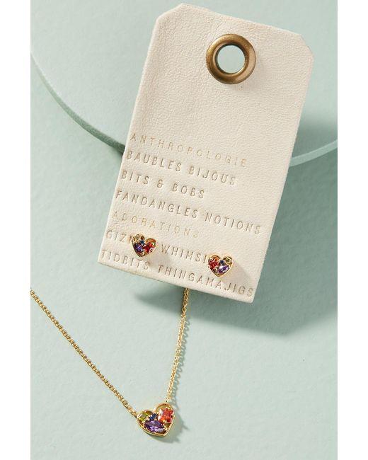 Anthropologie - Metallic Follow Your Heart Necklace + Earrings Set - Lyst