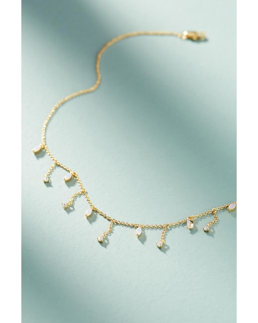 Anthropologie | Pink Delicate Gem Necklace | Lyst