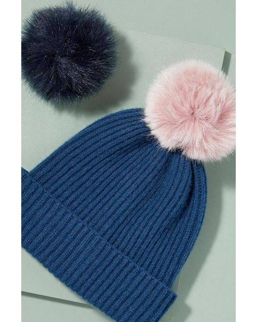 Anthropologie | Blue Wool And Cashmere 2 Pom Beanie | Lyst