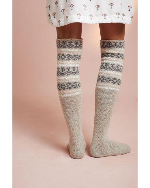 Pure + good Fair Isle Over-the-knee Socks | Lyst