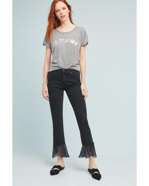 PAIGE - Black Hoxton High-rise Cropped Straight Jeans - Lyst