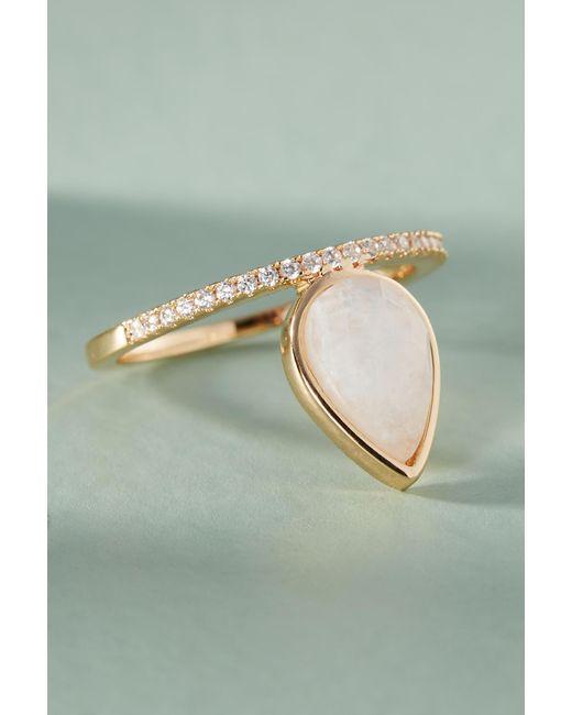Melanie Auld - White Gemstone Teardrop Ring - Lyst