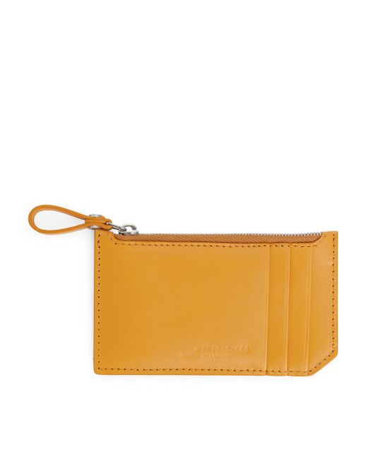 ARKET - Yellow Leather Card Pouch - Lyst