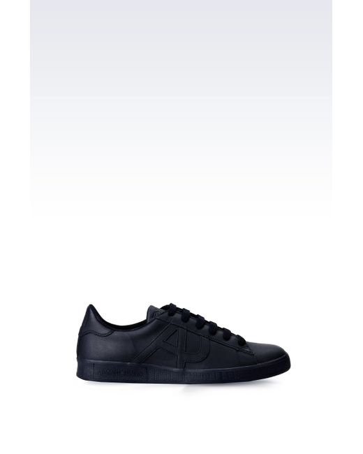 Armani Jeans   Black Leather Sneaker With Logo for Men   Lyst