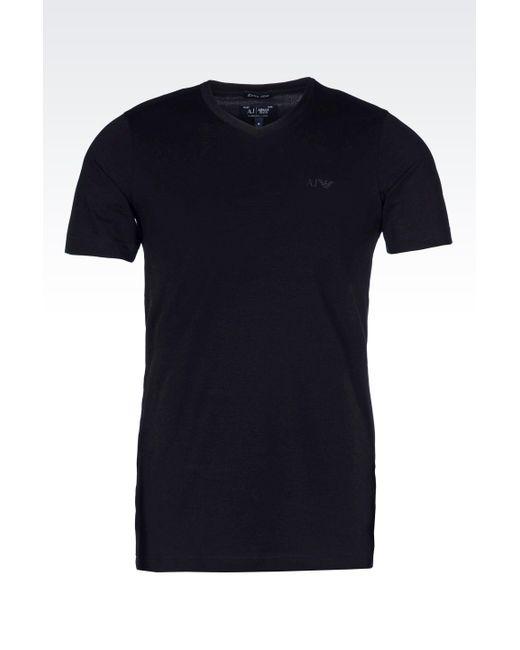 Armani Jeans | Black Jersey T-shirt for Men | Lyst