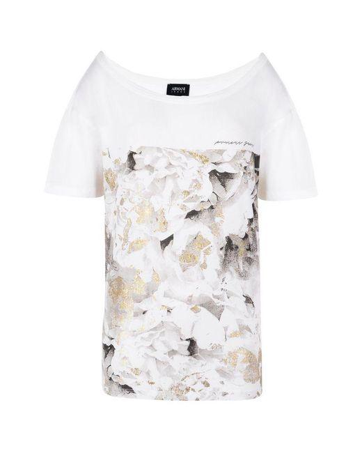 Armani Jeans   White Print T-shirt   Lyst