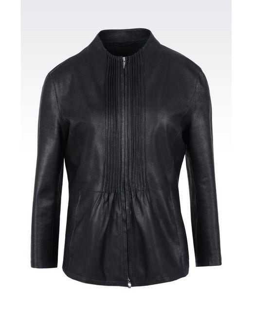 Armani   Black Leather Jacket   Lyst