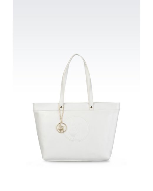 Armani Jeans | White Tote Bag With Charm | Lyst