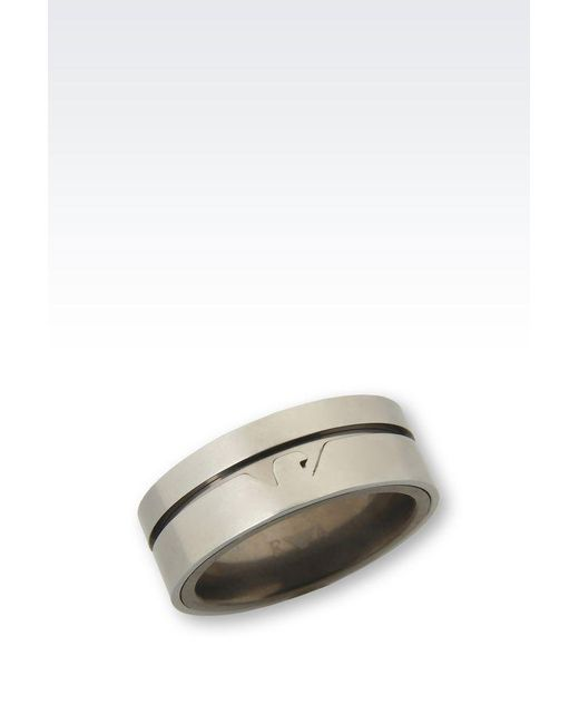 Emporio Armani | Metallic Ring for Men | Lyst