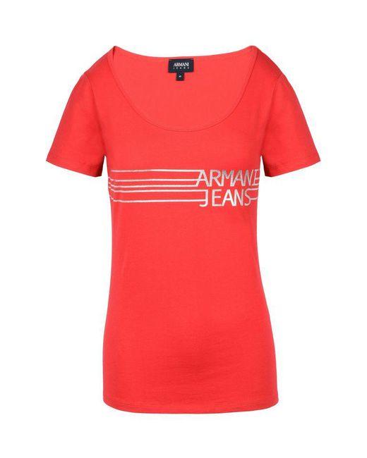 Armani Jeans | Red Print T-shirt | Lyst