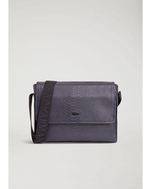 Emporio Armani - Blue Messenger Bag for Men - Lyst ... 541a3d1ef0a6d