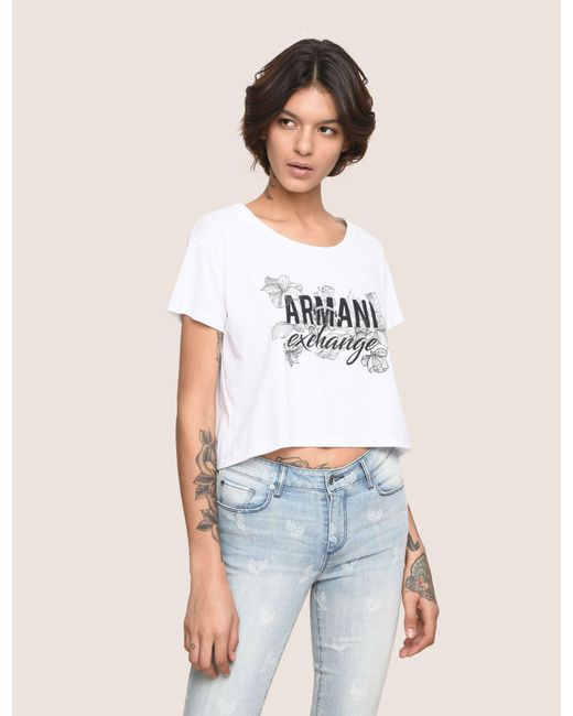 Armani Exchange - White Line Art Floral Cropped Tee - Lyst