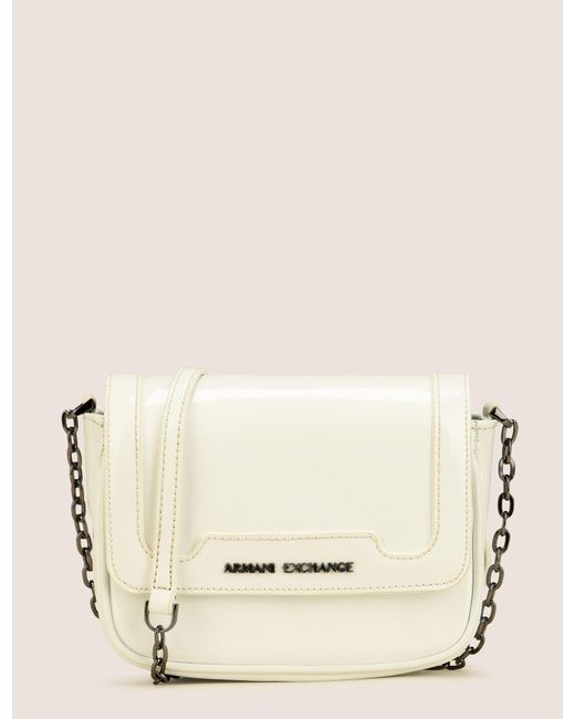 Armani Exchange White Patent Effect Faux Leather Crossbody Lyst