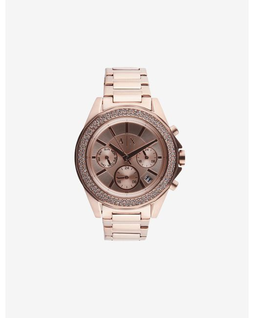 Armani Exchange Pink Women Quartz/multifunction Stainless Steel Watch