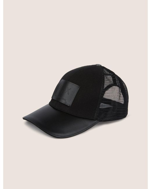 23ac8abbef3 ... Armani Exchange - Black Faux-leather Logo Patch Hat for Men - Lyst .