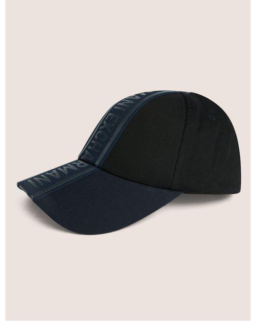 afd49cfca16 Armani Exchange - Black High-shine Logo Tape Hat for Men - Lyst ...
