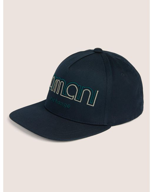 c7f693e8c1a Armani Exchange - Blue Dual Line Embroidered Logo Hat for Men - Lyst ...