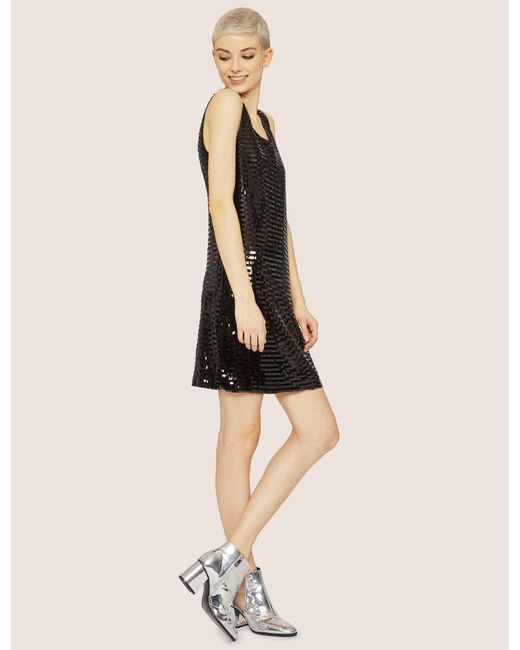 Lyst Armani Exchange Sleeveless Sequin Shift Dress In Black Save