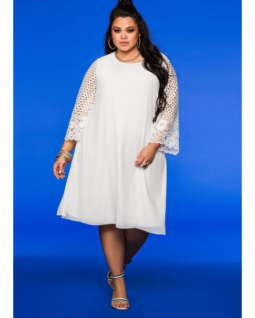 Ashley Stewart Lace Sleeve Chiffon Dress In White