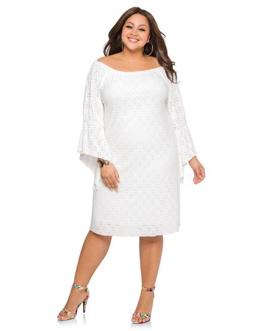 Ashley Stewart Eyelet Angle Sleeve Dress In White