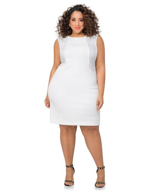 Ashley Stewart Embossed Scuba Sheath Dress In White