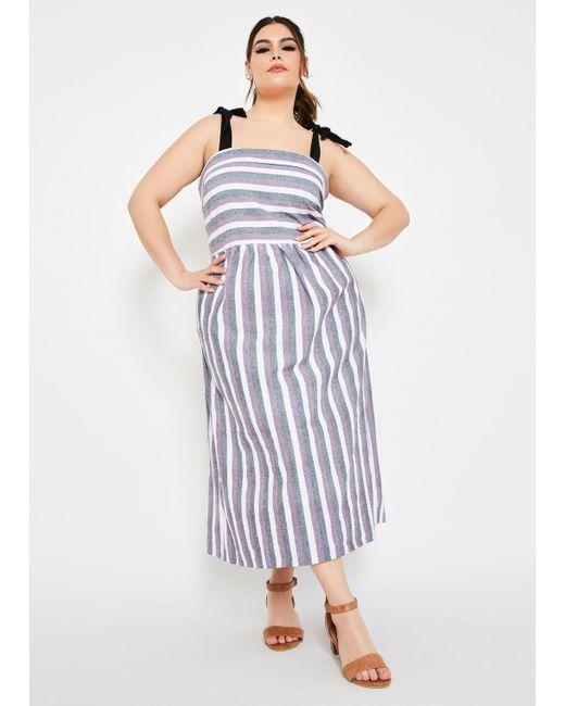 Women\'s Purple Plus Size Mixed Media Stripe Tank Linen Dress