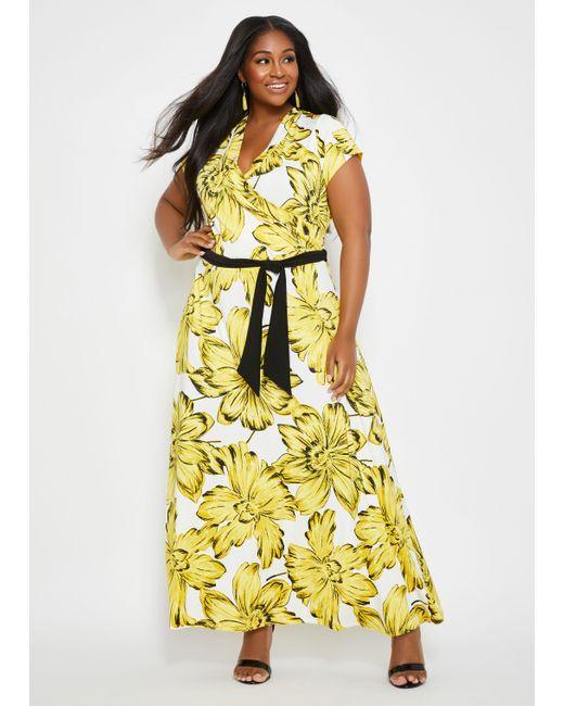 Women\'s Yellow Plus Size Tall Floral Print Faux Wrap Maxi Dress