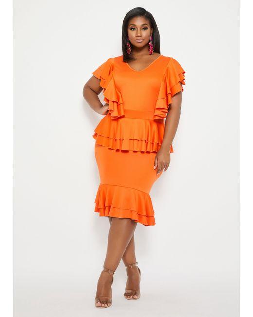 Ashley Stewart Plus Size Multi Tier Ruffle Dress in Orange - Lyst