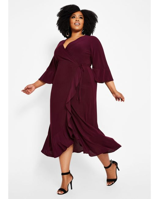 Women\'s Purple Plus Size Ruffle Detail Maxi Dress