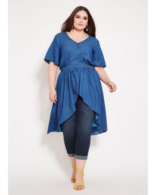 d7e51516744 Lyst - Ashley Stewart Plus Size Denim Cutaway Duster in Blue