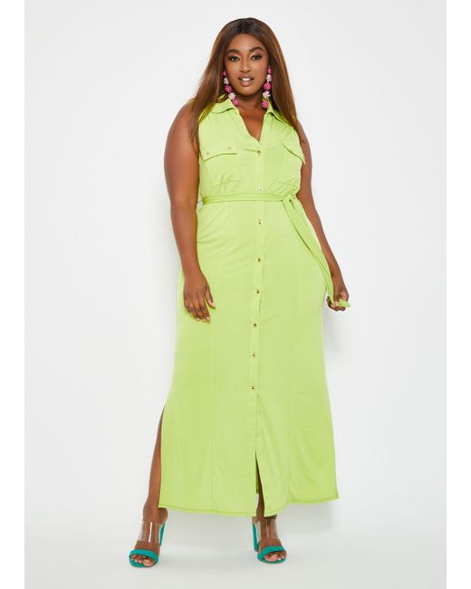 Ashley Stewart Plus Size Button Front Belted Maxi Dress in Green - Lyst