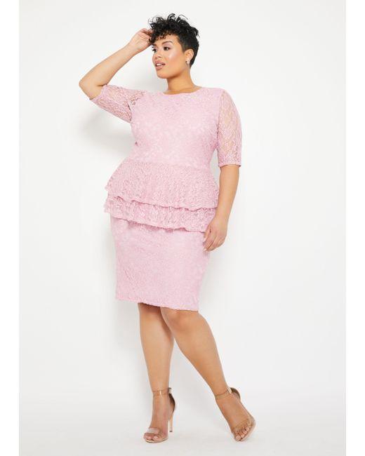 Lyst - Ashley Stewart Plus Size Lace Two Tier Peplum Dress in Pink