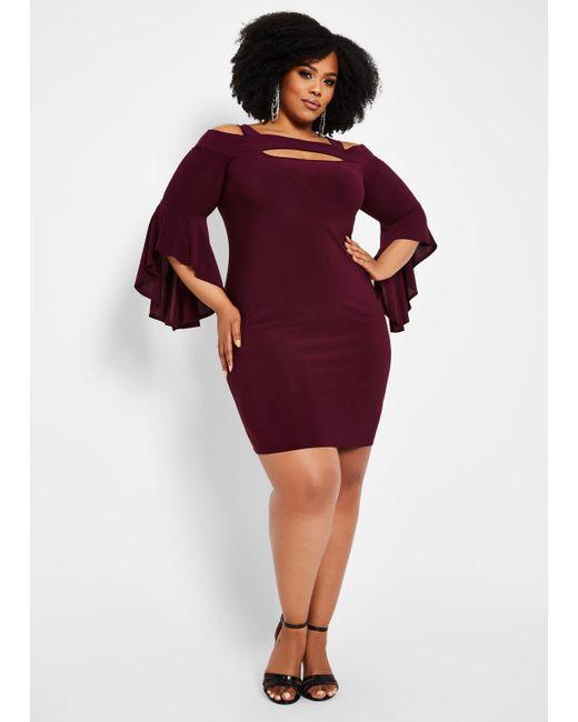 Lyst - Ashley Stewart Plus Size Solid Cutout Bell Sleeve Dress in Purple