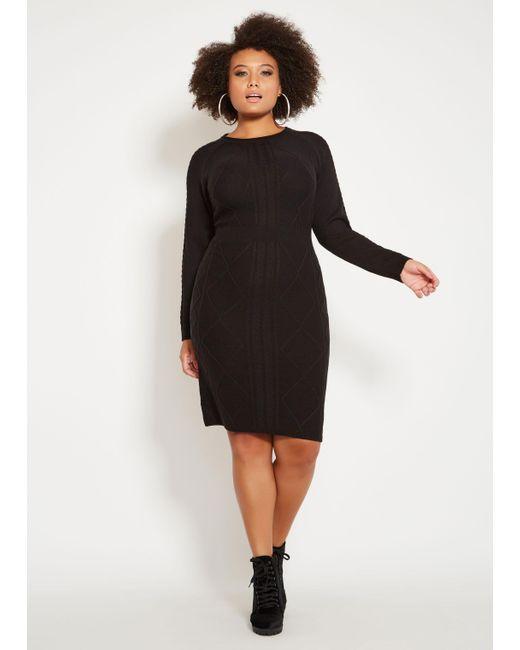 c5485ec4d90 Lyst - Ashley Stewart Plus Size Argyle Pattern Sweater Dress in Black