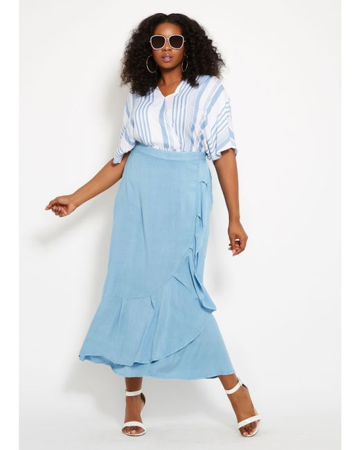 288adffad1c Lyst - Ashley Stewart Plus Size Striped Surplice Top in Blue