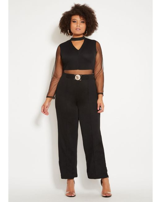 Lyst Ashley Stewart Plus Size Mesh Gold Belt Jumpsuit In Black