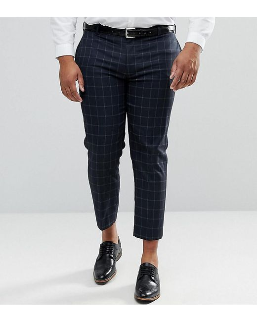ASOS - Blue Plus Skinny Crop Smart Trousers In Navy Windowpane Check for Men - Lyst