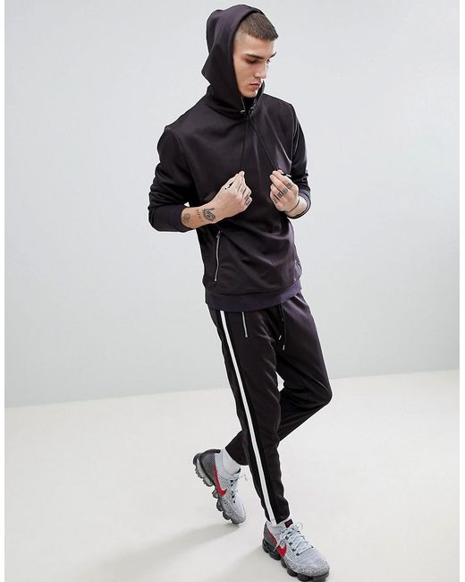 ASOS - Tracksuit Hoodie/ Skinny Joggers In Black Textured Poly Tricot With Taping for Men - Lyst